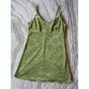 Vintage 60s Flower Power Green Love Svelte Dress